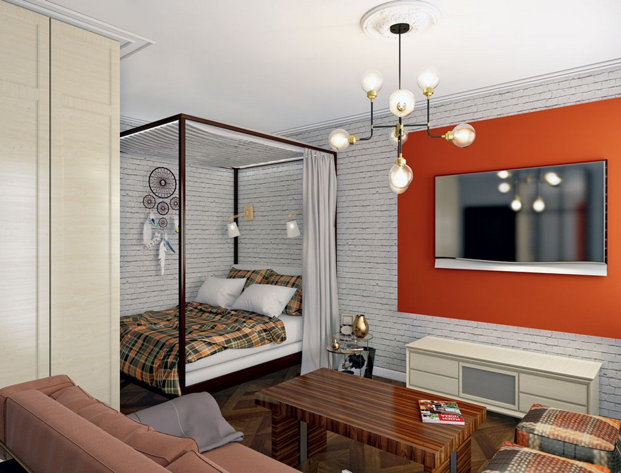 9-white-faux-brick-wall-tiles-eclectic-loft-style-studio-apartment-living-room-with-sleeping-area-canopy-bed-gray-curtains-TV-set-red-wall-brass-metal-lamp-wardrobe-sofa-coffee-table