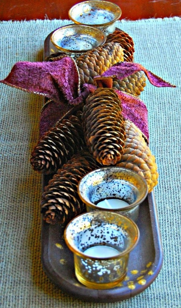 17-pinecones-pine-fir-spruce-cones-home-decor-Christmas-decoration-ideas-eco-style-purple-ribbon-tray-candle-holders