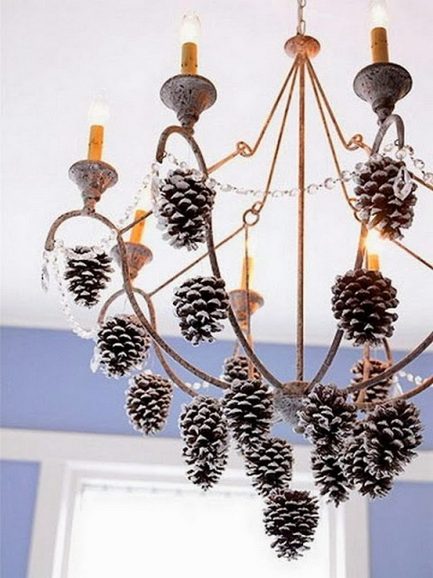 2-pinecones-pine-fir-spruce-cones-home-decor-Christmas-decoration-ideas-eco-style-chandelier-lamp