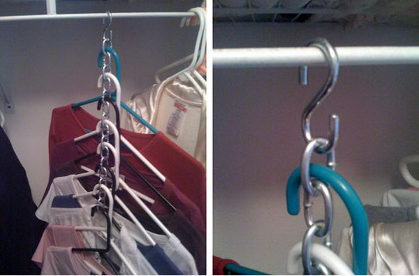 3-compact-clothes-storage-ideas-shirts-on-bathroom-S-shaped-hooks-metal-chain