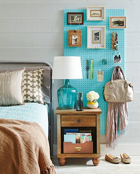 3-how-to-add-bright-color-to-home-interior-bedroom-gray-wall-wooden-nightstand-table-lamp-perforated-hardboard-pegboard-storage-blue-pictures