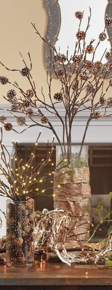 3-pinecones-pine-fir-spruce-cones-home-decor-Christmas-decoration-ideas-eco-style-lights-glass-vase