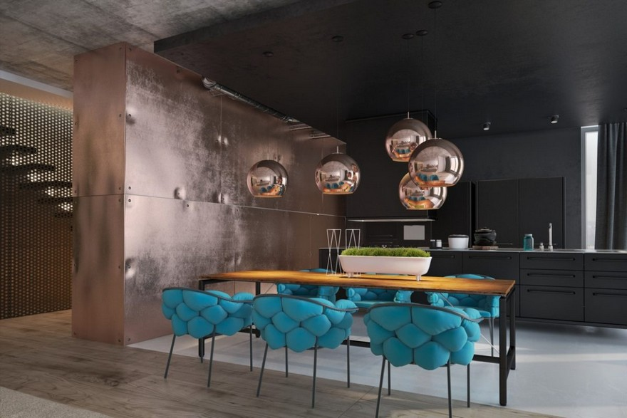 5-copper-in-interior-design-loft-style-kitchen-metal-wall-covering-pendant-lamps-blue-chairs-dining-table-metal