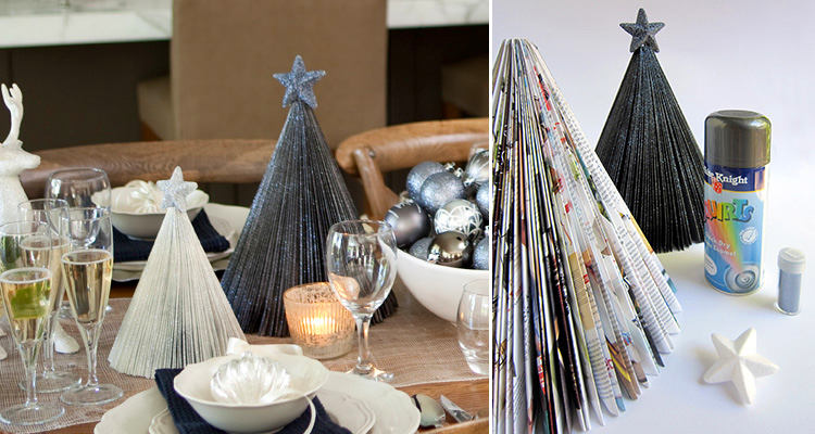 0-DIY-mini-Christmas-tree-for-table-setting-from-an-old-magazine-recycling-idea-remake