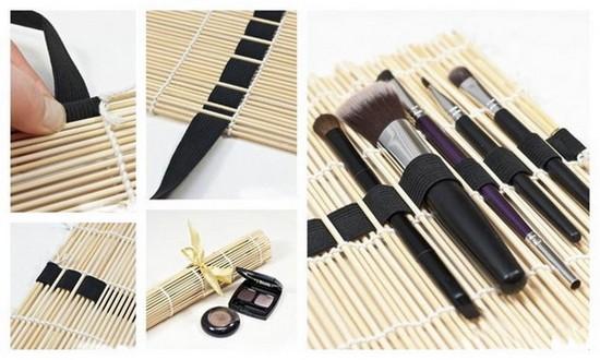 15-neat-tidy-makeup-beauty-products-storage-ideas-organizer-bamboo-table-napkin-DIY-handmade-elastic