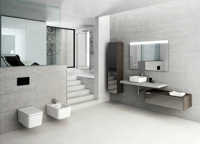 2-1-Roca-beige-bathroom-interior-design-wash-basin-vanity-unit-toilet-gray-faux-concrete-cement-wall-tiles-wall-mounted-toilet-bidet-cabinet-mirrored-cabinets