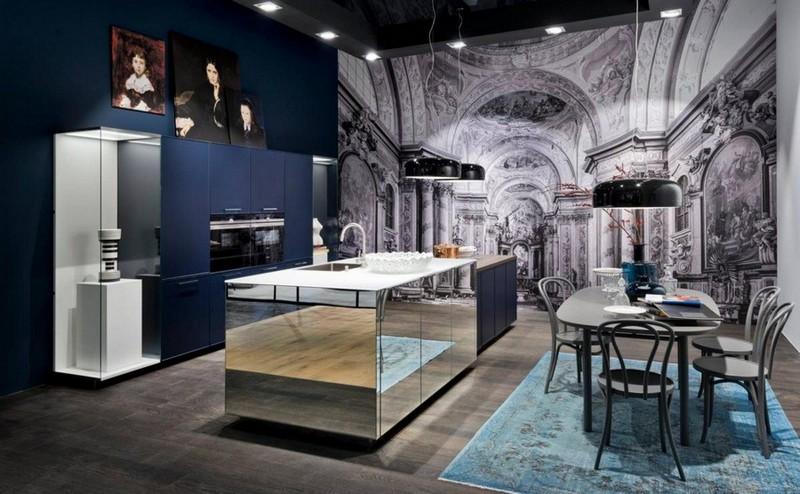 2-4-mirrored-furniture-kitchen-island-by-Nolte-Kuchen-blue
