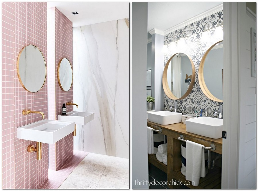 3-two-double-identical-symmetrical-big-round-mirrors-in-bathroom-interior-design-home-decor-double-sink-wash-basin-pastel-pink-wall-brass-frame