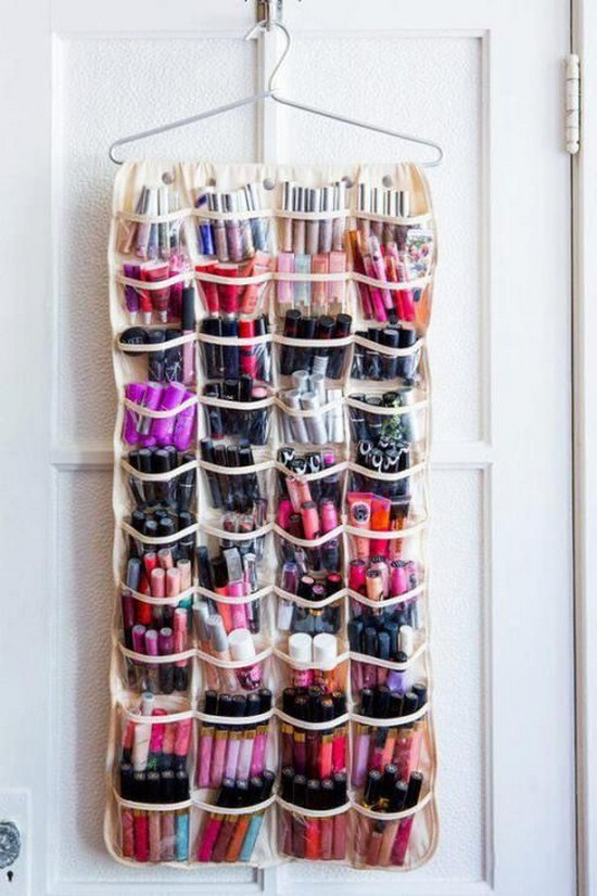 9-neat-tidy-makeup-beauty-products-storage-ideas-shoe-wall-vertical-organizer