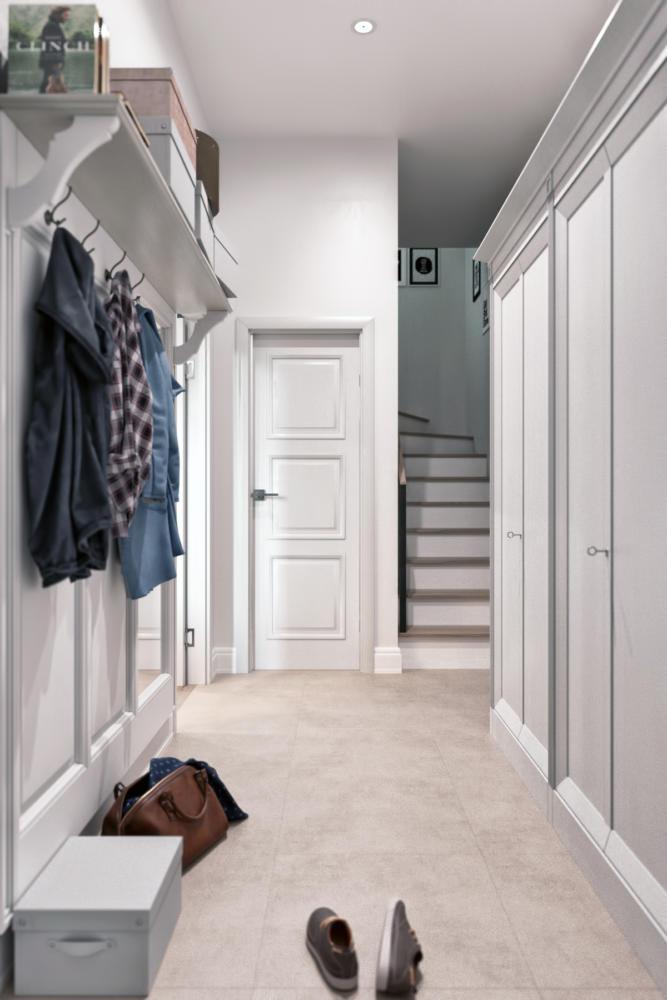 1-1-hallway-entrance-hall-mudroom-modern-light-Scandinavian-style-interior-gray-white-walls-built-in-closet-coat-rack-shoe-box-shelf-townhouse