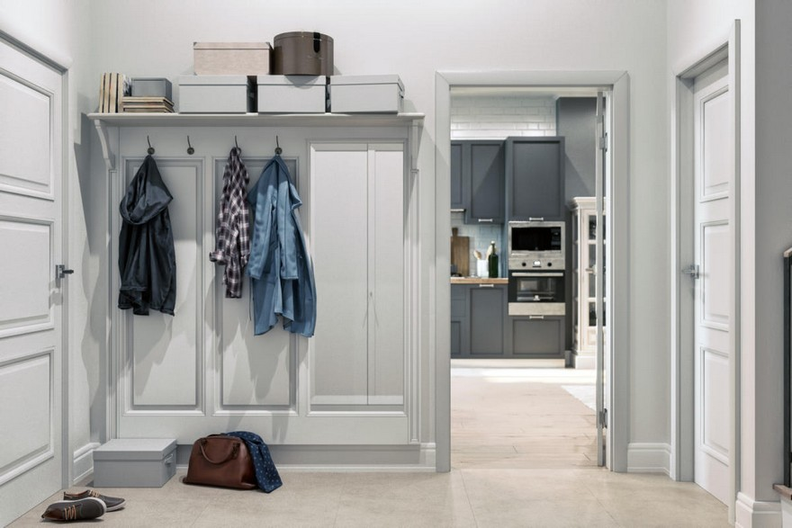 1-2-hallway-entrance-hall-mudroom-modern-light-Scandinavian-style-interior-white-gray-coat-rack-shoe-box-shelves-doors-kitchen-entrance