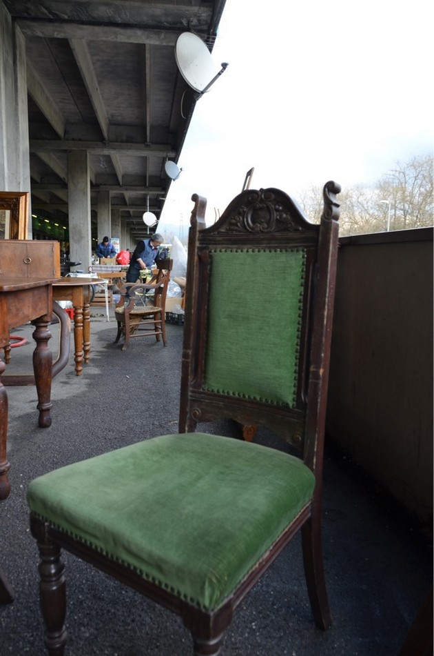 1-3-European-Italian-flea-market-photo-items-sale-antiquities-green-upholstered-wooden-dining-chair