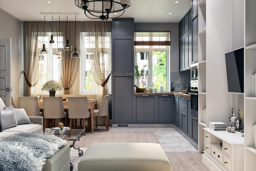 2-1-modern-light-Scandinavian-style-interior-open-plan-concept-living-room-dining-room-kitchen-gray-beige-cabinets-TV-set-lounge-dining-table-chairs-three-windows
