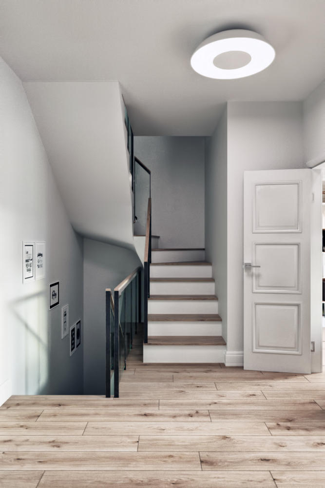 3-1-modern-light-Scandinavian-style-interior-staircase-in-townhouse-white-doors-walls-light-gray-ceiling-lamp-parquet-floor