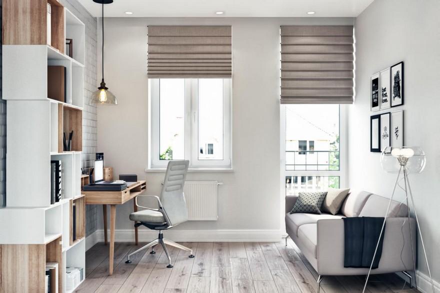 3-2-modern-light-Scandinavian-style-interior-study-home-office-work-area-faux-brick-wall-masonry-asymmetrical-shelves-sofa-floor-lamp-Roman-blinds-desk-wheeled-chair
