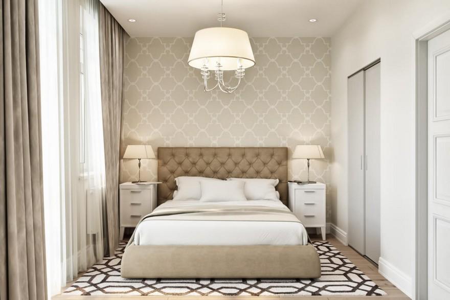 4-2-modern-light-Scandinavian-style-interior-bedroom-beige-white-gray-capitone-bed-geometrical-wallpaper-rug-carpet-nightstands-bedside-lamps-upholstered-bed-walk-in-closet