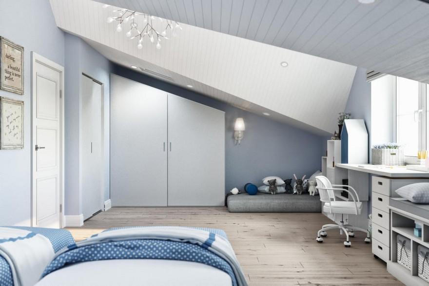 6-3-modern-light-blue-gray-white-Scandinavian-style-interior-kid's-room-girl's-attic-floor-sloped-ceiling-bedroom-desk-chair-mattress-play-area-built-in-closet-chandelier