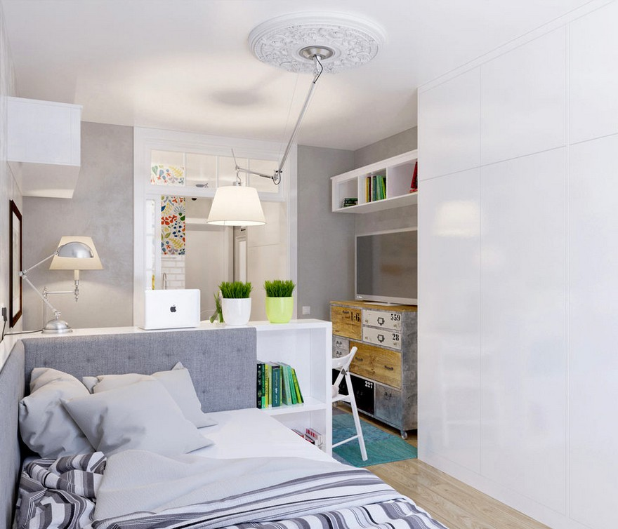 5-light-grayish-blue-studio-apartment-interior-design-in-modern-style-bed-white-built-in-closet-floor-lamp-pendant-lamp-by-Artemide-with-flexible-lighting-arm-rod-lounge-area-TV-set-dining-table