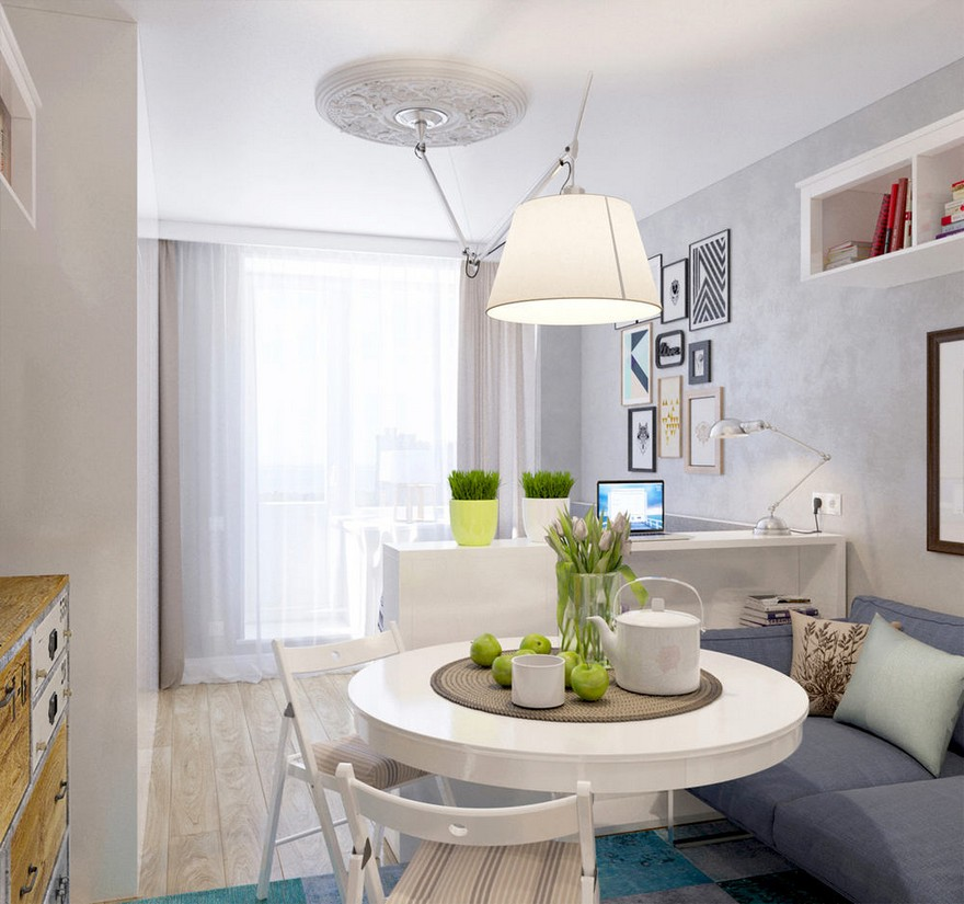 8-1-light-grayish-blue-studio-apartment-interior-design-in-modern-style-lounge-area-living-room-shelving-unit-dining-zone-folding-chairs-IKEA-sofa-couch-pendant-lamp-Tolomeo-Mega-Artemide-with-flexible-arm-rod