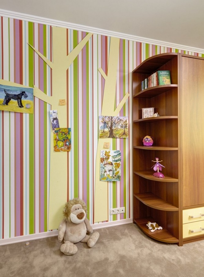 1-girls-room-interior-design-green-pink-bright-striped-wallpaper-Yet-Jet-collection-by-Prestigious-Wallcovering-plywood-tree-corner-rounded-wardrobe