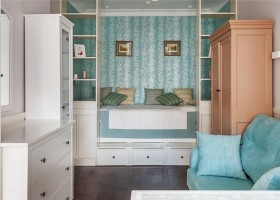2-1-podium-bed-in-interior-design-peppermint-blue-and-white-girl's-room-bedroom-white-furniture-see-through-shelves-chest-of-drawers-sofa-many-storage-areas