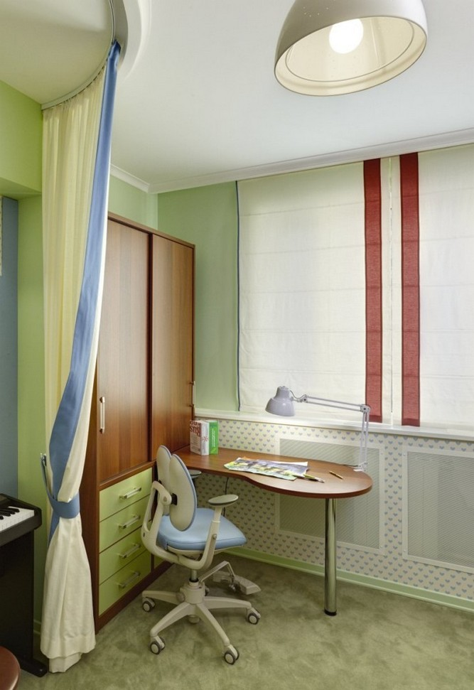 2-girls-room-interior-design-green-painted-wall-roller-blinds-wardorbe-transforming-desk-study-area
