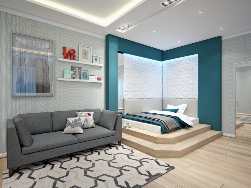 3-1-podium-bed-in-interior-design-contemporary-style-bedroom-light-gray-and-blue-geometrical-motifs-carpet-sofa-3D-wall-panels