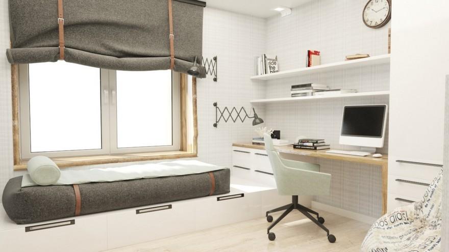 4-1-podium-bed-platform-in-interior-design-teenage-boy-bedroom-light-gray-brown-white-walls-work-study-area-desk-mattress-roman-blinds-sleeping-area-by-the-window-built-in-shelves