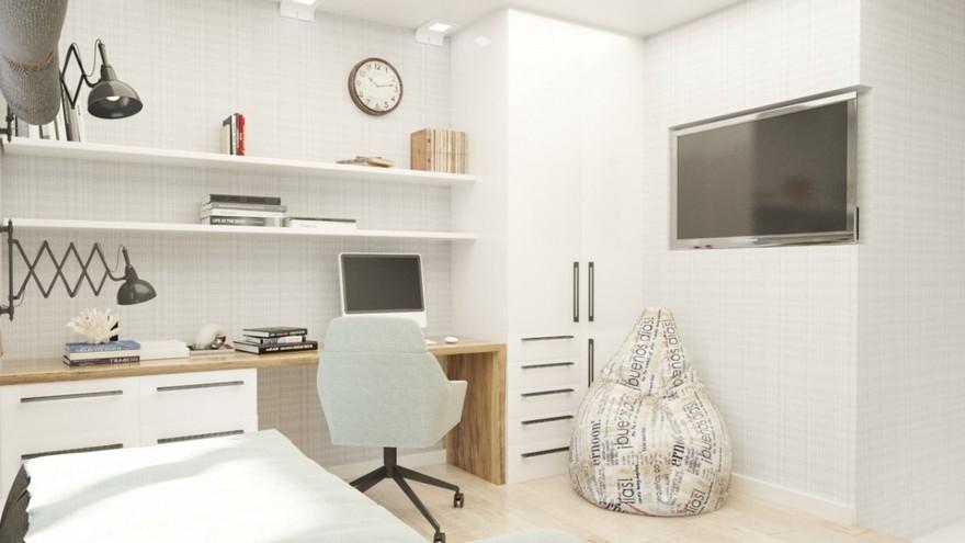 4-2-teenage-boy-bedroom-interior-design-light-gray-brown-white-walls-study-area-desk-built-in-shelves-TV-set-bean-bag-chair-wardrobe